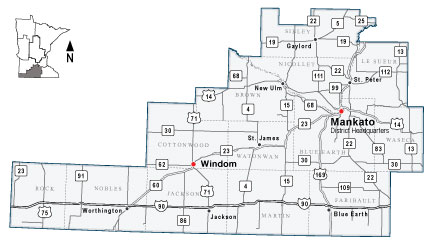 Map of MnDOT District 7, covering South Central Minnesota.